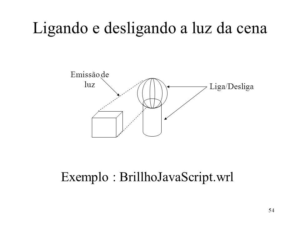 54 Ligando e desligando a luz da cena Exemplo : BrillhoJavaScript.wrl Emissão de luz Liga/Desliga