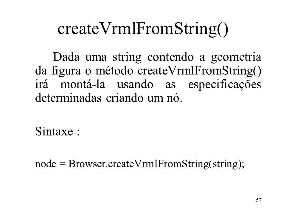 57 createVrmlFromString() Dada uma string contendo a geometria da figura o método createVrmlFromString() irá montá-la usando as especificações determi
