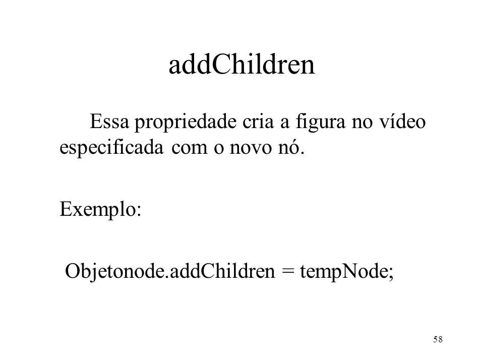 58 addChildren Essa propriedade cria a figura no vídeo especificada com o novo nó. Exemplo: Objetonode.addChildren = tempNode;