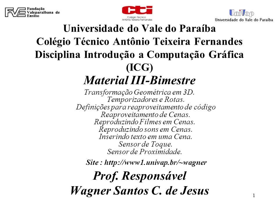 1 Universidade do Vale do Paraíba Colégio Técnico Antônio Teixeira Fernandes Disciplina Introdução a Computação Gráfica (ICG) Material III-Bimestre Transformação Geométrica em 3D.