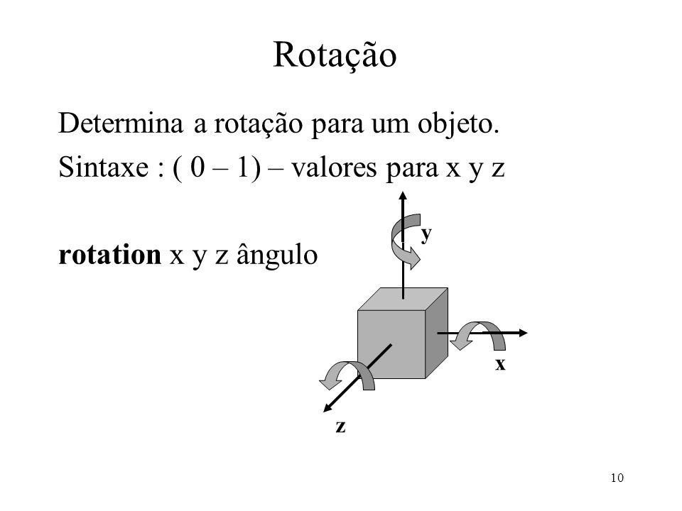 10 Rotação Determina a rotação para um objeto.
