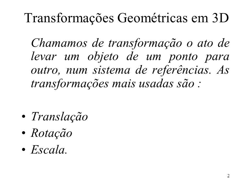 2 Transformações Geométricas em 3D Chamamos de transformação o ato de levar um objeto de um ponto para outro, num sistema de referências.