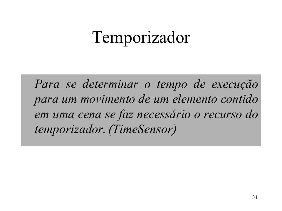 31 Temporizador Para se determinar o tempo de execução para um movimento de um elemento contido em uma cena se faz necessário o recurso do temporizador.