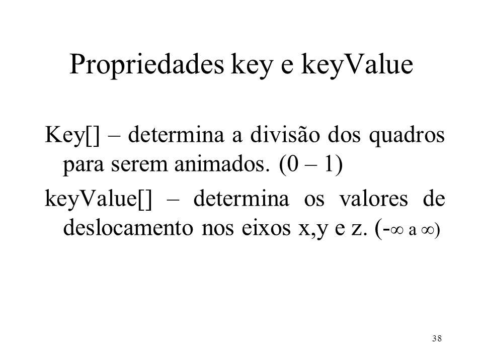 38 Propriedades key e keyValue Key[] – determina a divisão dos quadros para serem animados.