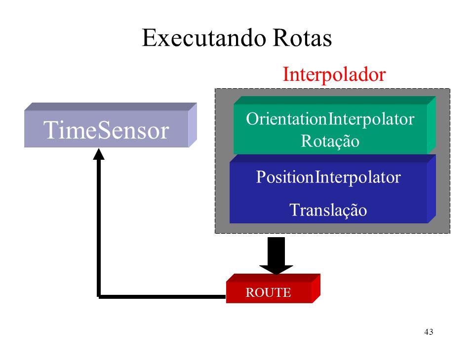 43 Executando Rotas TimeSensor OrientationInterpolator Rotação PositionInterpolator Translação ROUTE Interpolador