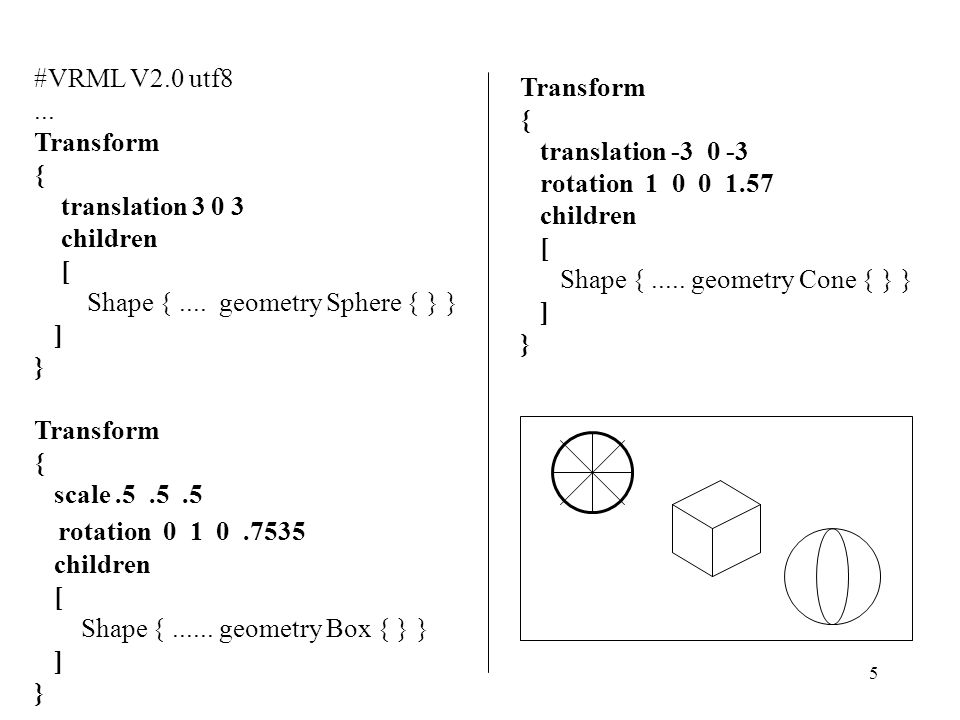 5 #VRML V2.0 utf8...Transform { translation 3 0 3 children [ Shape {....