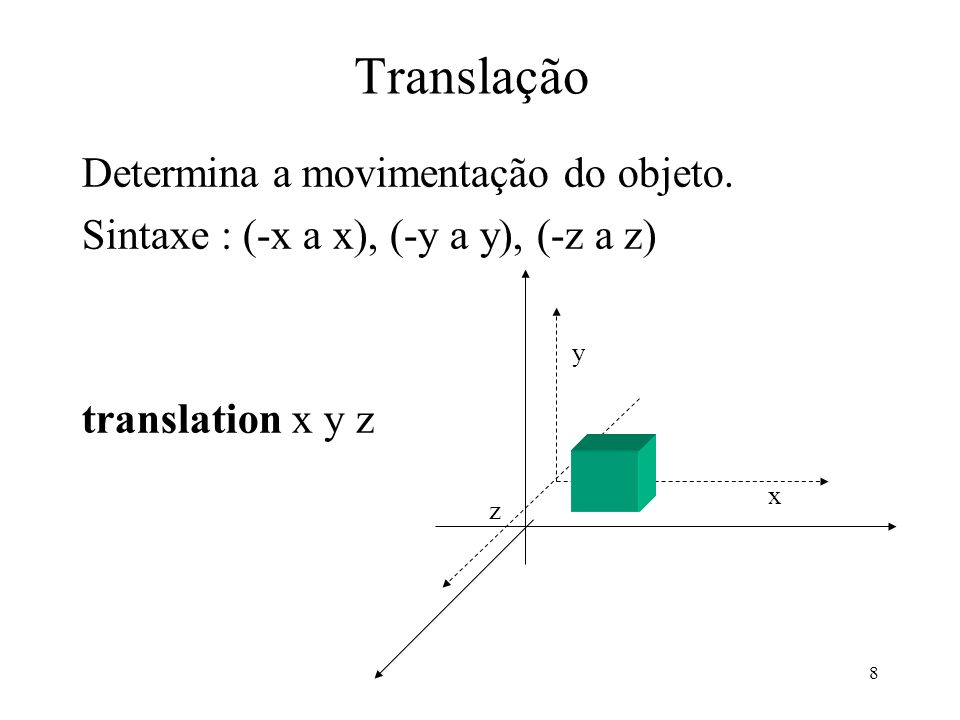 8 Translação Determina a movimentação do objeto.