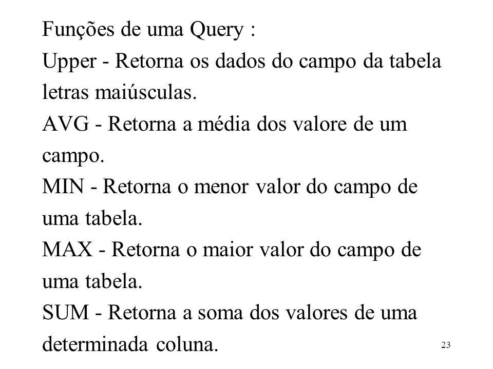 Funções de uma Query : Upper - Retorna os dados do campo da tabela letras maiúsculas. AVG - Retorna a média dos valore de um campo. MIN - Retorna o me