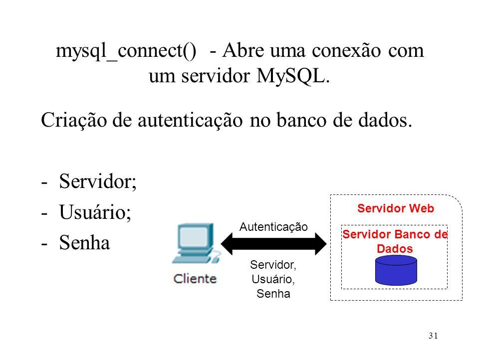 mysql_connect() - Abre uma conexão com um servidor MySQL. Criação de autenticação no banco de dados. -Servidor; -Usuário; -Senha 31 Servidor Banco de