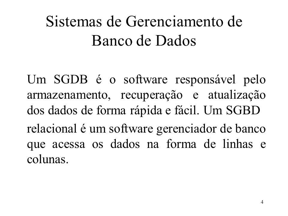 4 Sistemas de Gerenciamento de Banco de Dados Um SGDB é o software responsável pelo armazenamento, recuperação e atualização dos dados de forma rápida