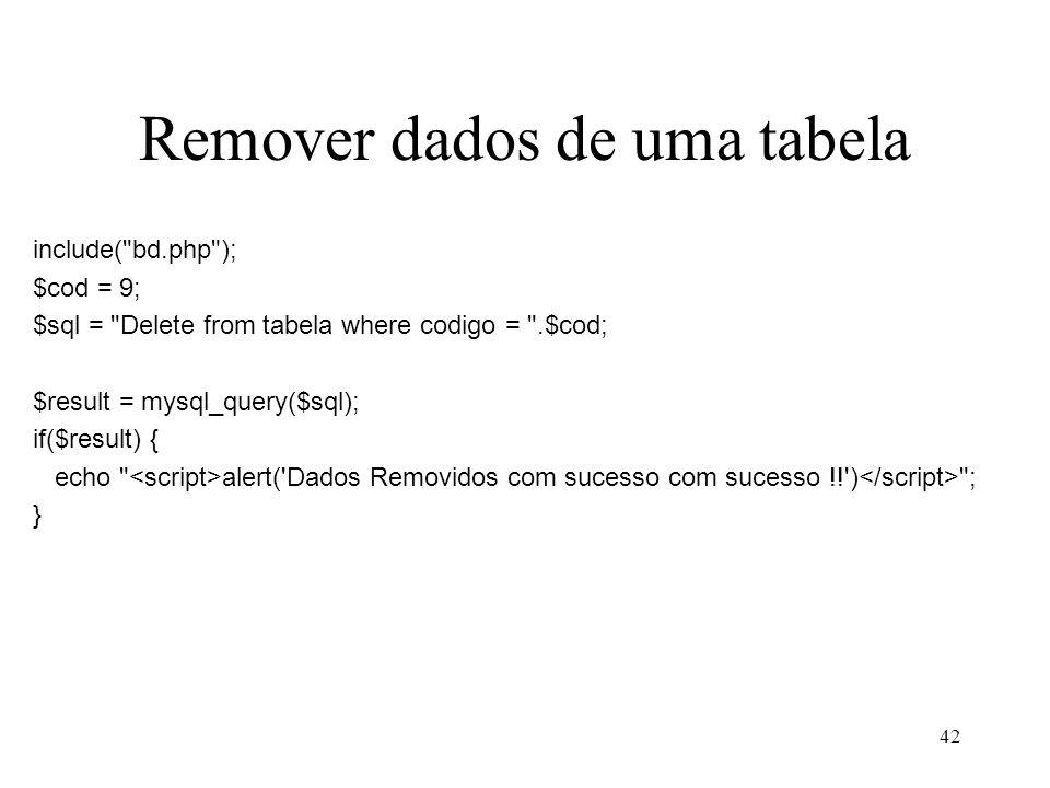 Remover dados de uma tabela include(
