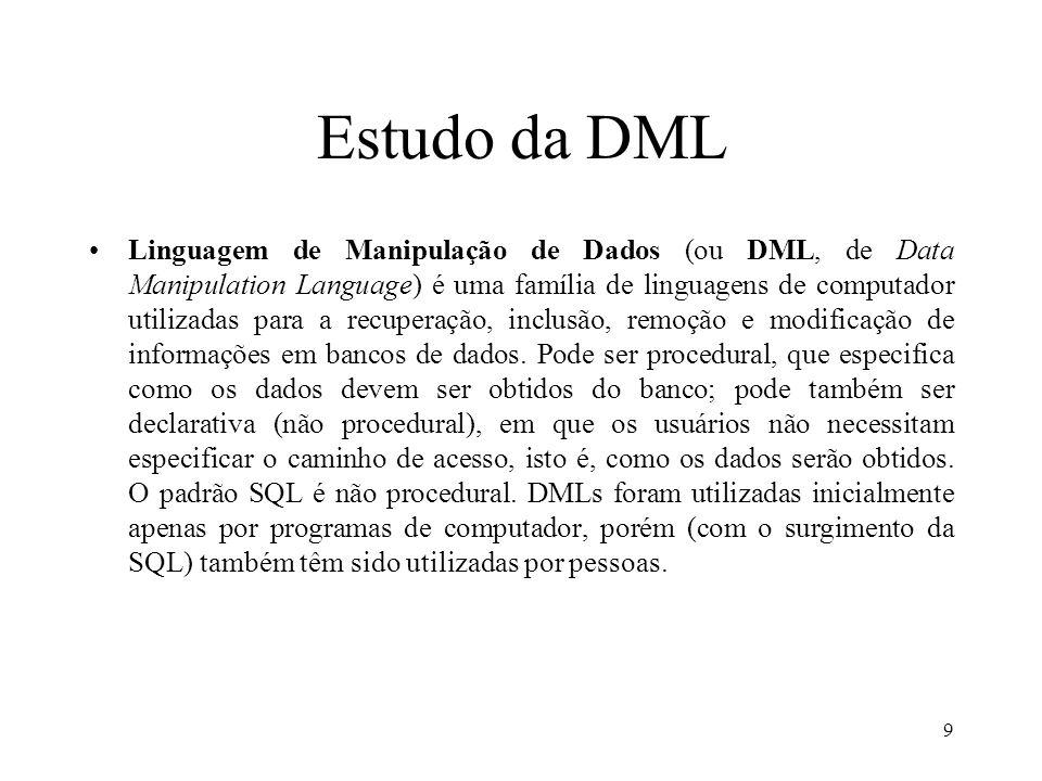 Estudo da DML Linguagem de Manipulação de Dados (ou DML, de Data Manipulation Language) é uma família de linguagens de computador utilizadas para a re