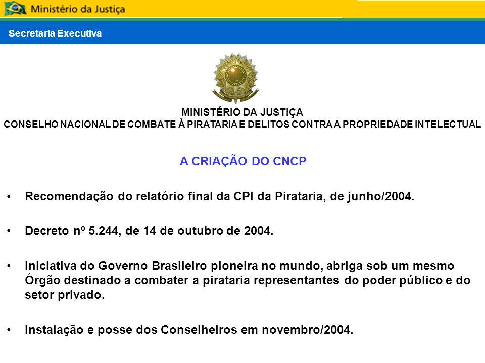 Secretaria Executiva MINISTÉRIO DA JUSTIÇA CONSELHO NACIONAL DE COMBATE À PIRATARIA E DELITOS CONTRA A PROPRIEDADE INTELECTUAL A CRIAÇÃO DO CNCP Recom