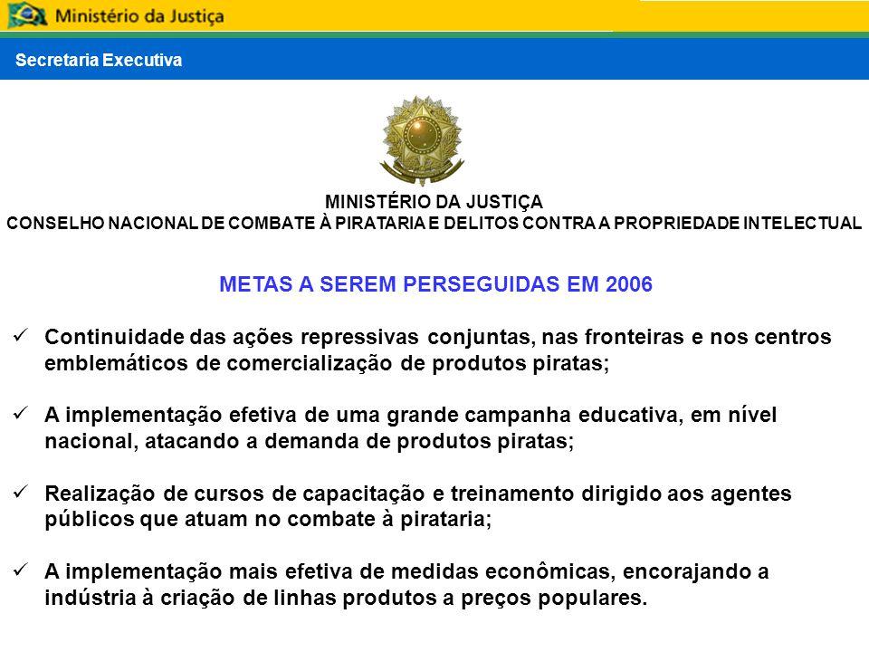 Secretaria Executiva MINISTÉRIO DA JUSTIÇA CONSELHO NACIONAL DE COMBATE À PIRATARIA E DELITOS CONTRA A PROPRIEDADE INTELECTUAL METAS A SEREM PERSEGUID