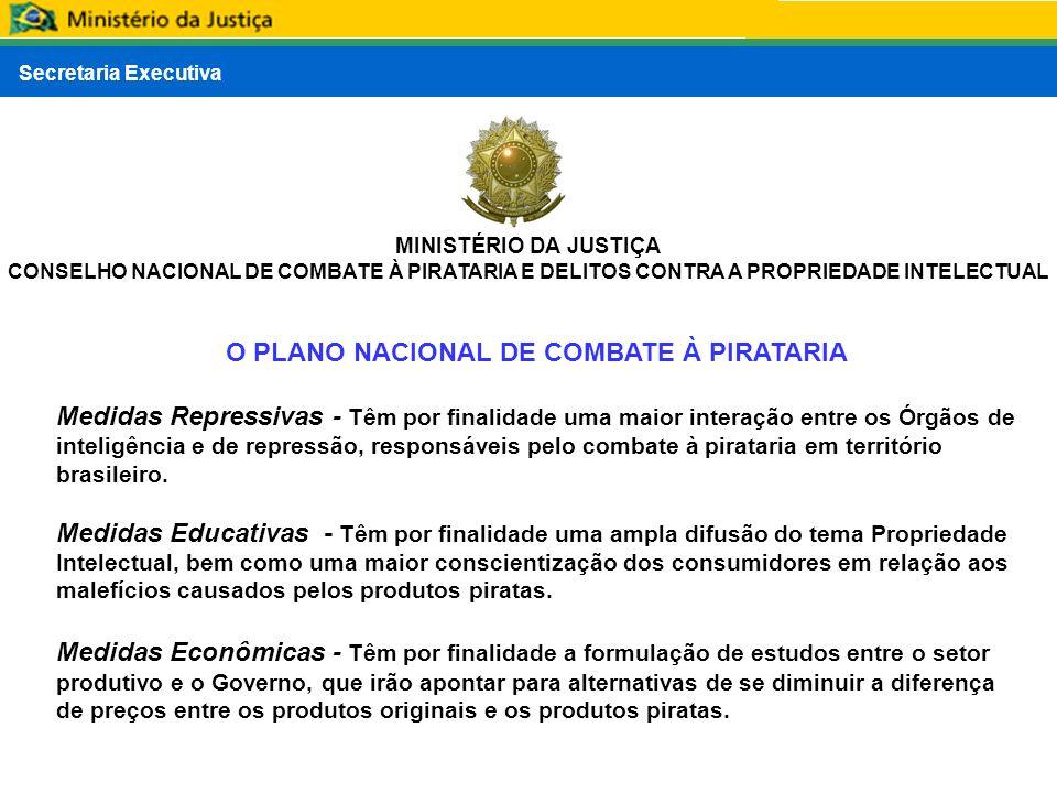 Secretaria Executiva MINISTÉRIO DA JUSTIÇA CONSELHO NACIONAL DE COMBATE À PIRATARIA E DELITOS CONTRA A PROPRIEDADE INTELECTUAL O PLANO NACIONAL DE COM