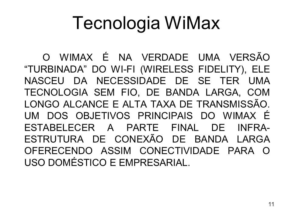 11 Tecnologia WiMax O WIMAX É NA VERDADE UMA VERSÃO TURBINADA DO WI-FI (WIRELESS FIDELITY), ELE NASCEU DA NECESSIDADE DE SE TER UMA TECNOLOGIA SEM FIO