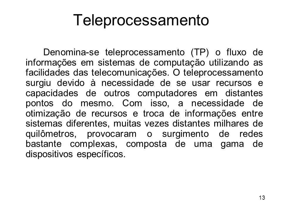 13 Teleprocessamento Denomina-se teleprocessamento (TP) o fluxo de informações em sistemas de computação utilizando as facilidades das telecomunicaçõe