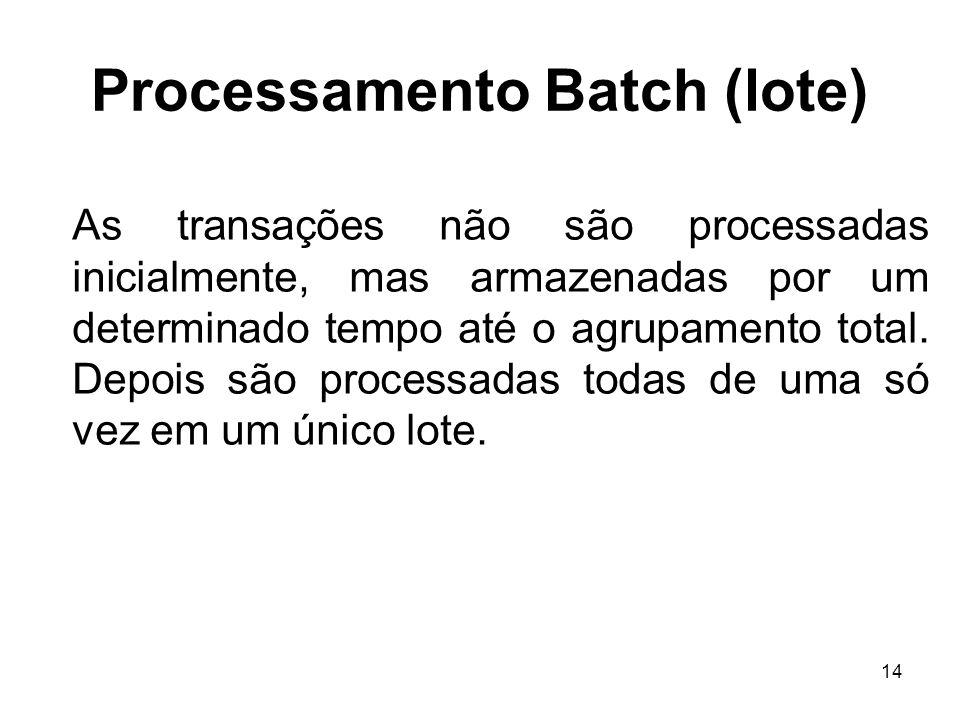 14 Processamento Batch (lote) As transações não são processadas inicialmente, mas armazenadas por um determinado tempo até o agrupamento total. Depois