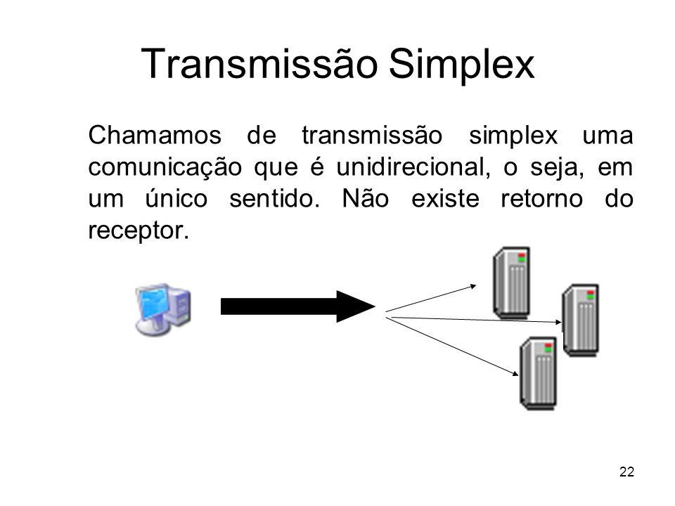 22 Transmissão Simplex Chamamos de transmissão simplex uma comunicação que é unidirecional, o seja, em um único sentido. Não existe retorno do recepto