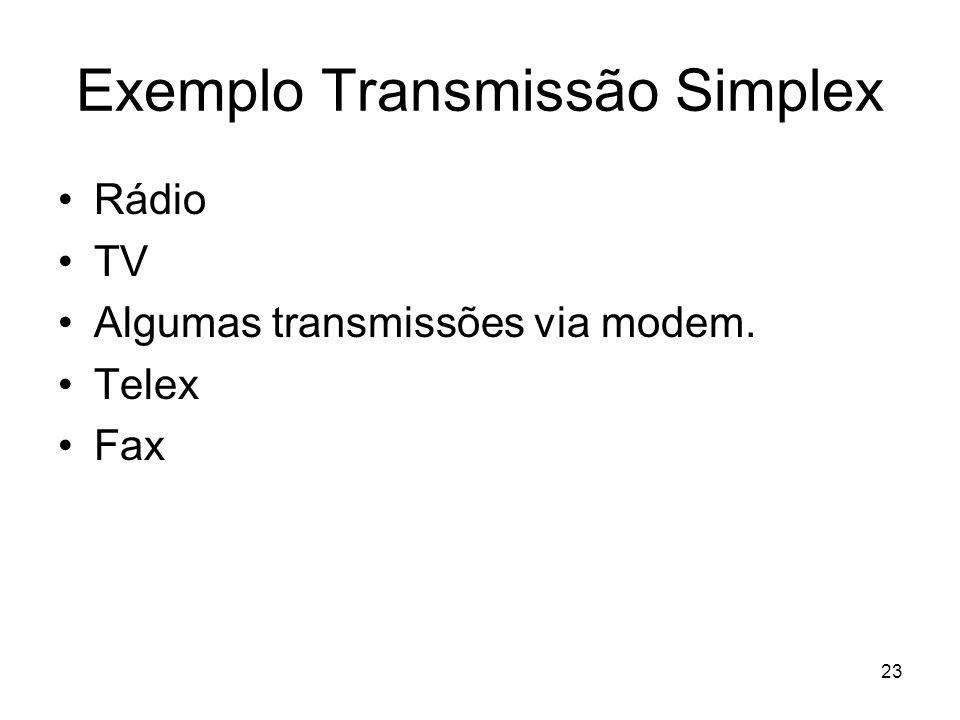 23 Exemplo Transmissão Simplex Rádio TV Algumas transmissões via modem. Telex Fax