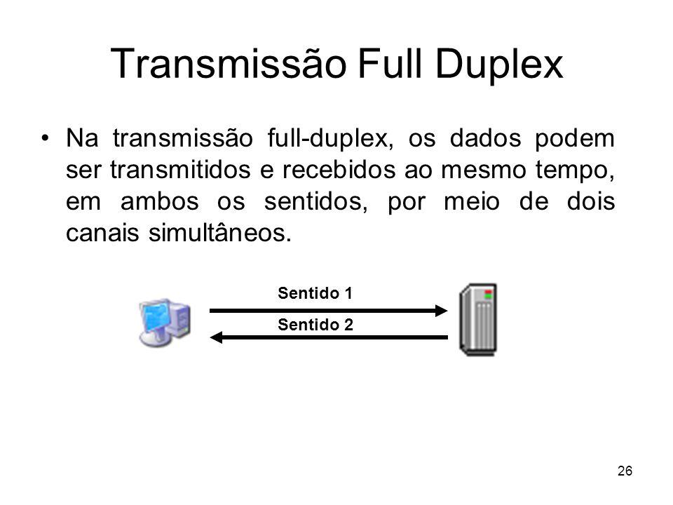 26 Transmissão Full Duplex Na transmissão full-duplex, os dados podem ser transmitidos e recebidos ao mesmo tempo, em ambos os sentidos, por meio de d