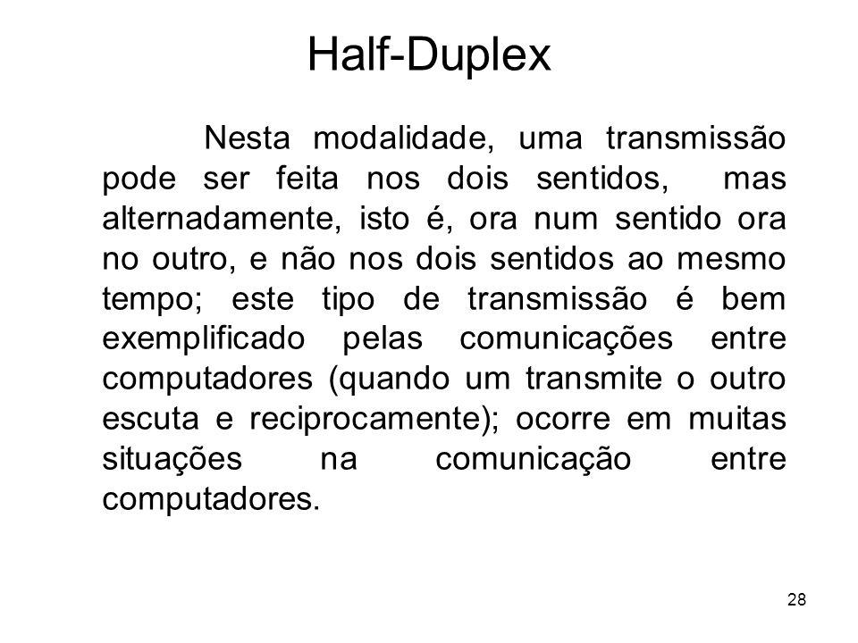 28 Half-Duplex Nesta modalidade, uma transmissão pode ser feita nos dois sentidos, mas alternadamente, isto é, ora num sentido ora no outro, e não nos