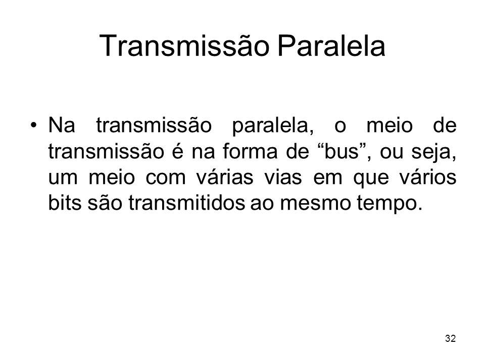 32 Transmissão Paralela Na transmissão paralela, o meio de transmissão é na forma de bus, ou seja, um meio com várias vias em que vários bits são tran