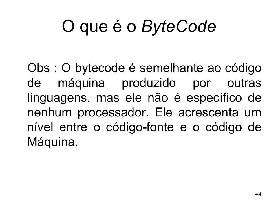 44 O que é o ByteCode Obs : O bytecode é semelhante ao código de máquina produzido por outras linguagens, mas ele não é específico de nenhum processad