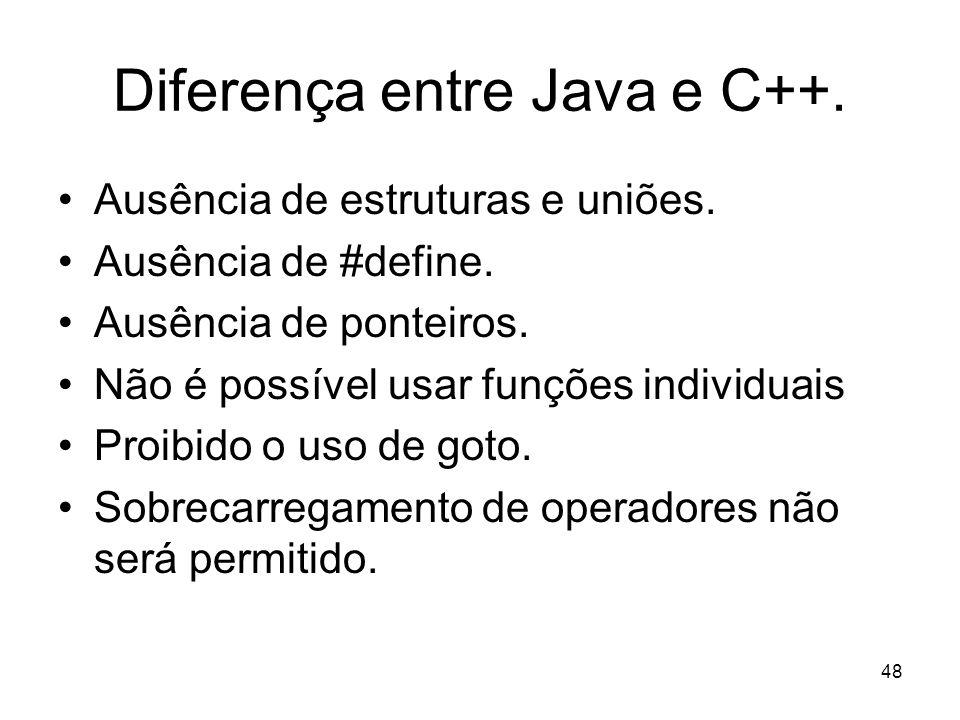 48 Diferença entre Java e C++. Ausência de estruturas e uniões. Ausência de #define. Ausência de ponteiros. Não é possível usar funções individuais Pr
