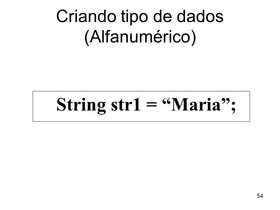 54 Criando tipo de dados (Alfanumérico) String str1 = Maria;