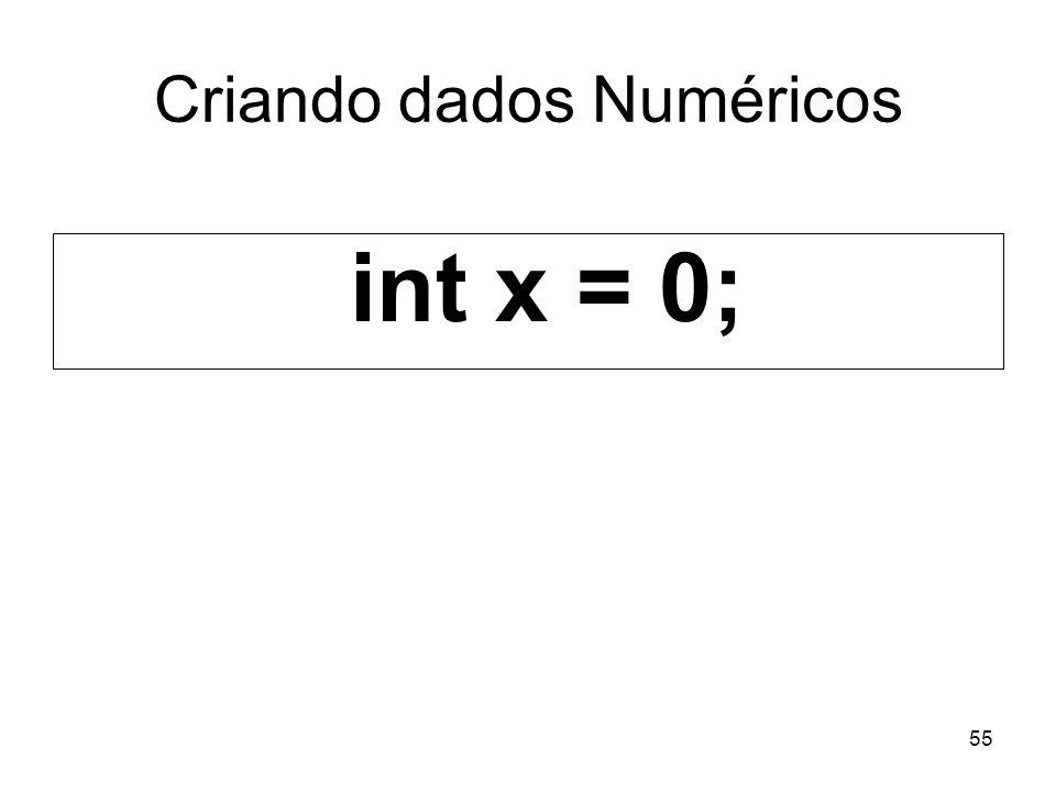 55 Criando dados Numéricos int x = 0;