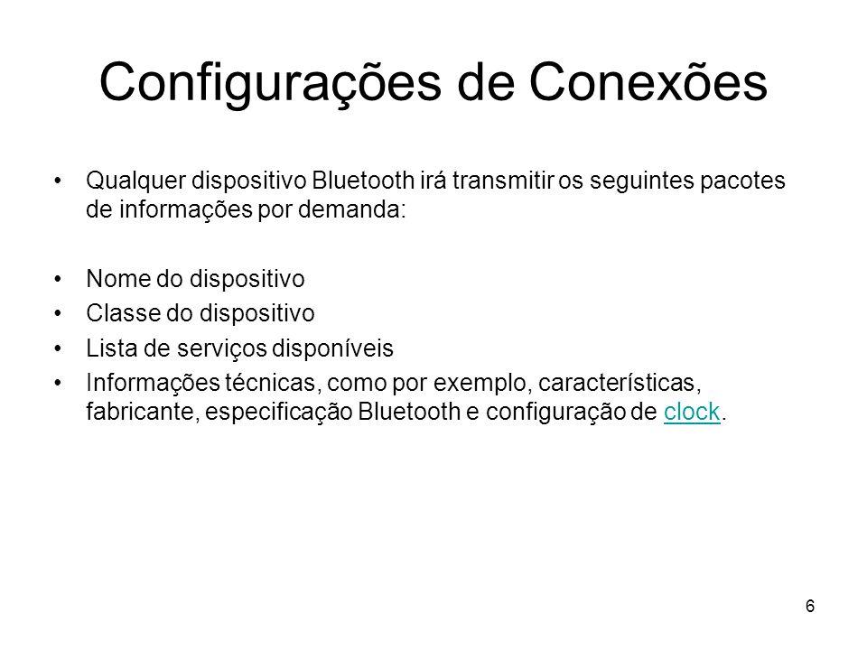 6 Configurações de Conexões Qualquer dispositivo Bluetooth irá transmitir os seguintes pacotes de informações por demanda: Nome do dispositivo Classe