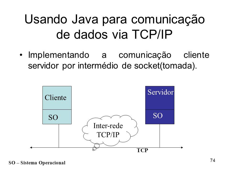 74 Inter-rede TCP/IP Usando Java para comunicação de dados via TCP/IP Implementando a comunicação cliente servidor por intermédio de socket(tomada). C