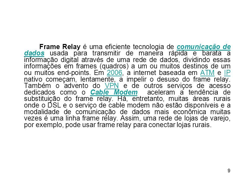9 Frame Relay é uma eficiente tecnologia de comunicação de dados usada para transmitir de maneira rápida e barata a informação digital através de uma