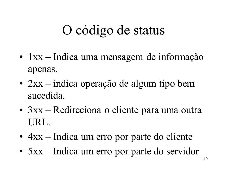 10 O código de status 1xx – Indica uma mensagem de informação apenas. 2xx – indica operação de algum tipo bem sucedida. 3xx – Redireciona o cliente pa