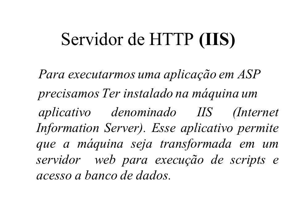 Servidor de HTTP (IIS) Para executarmos uma aplicação em ASP precisamos Ter instalado na máquina um aplicativo denominado IIS (Internet Information Se