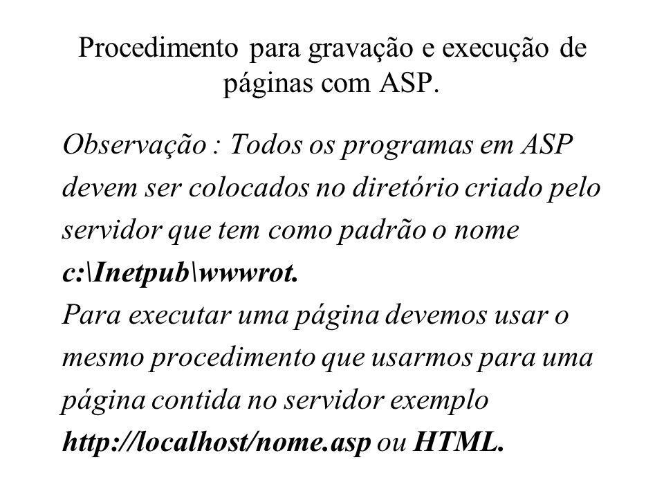 Procedimento para gravação e execução de páginas com ASP. Observação : Todos os programas em ASP devem ser colocados no diretório criado pelo servidor