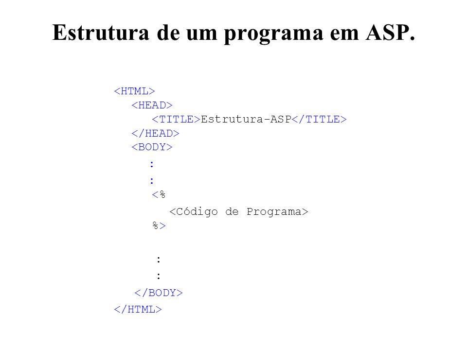 Estrutura de um programa em ASP. Estrutura-ASP : : <% %> :