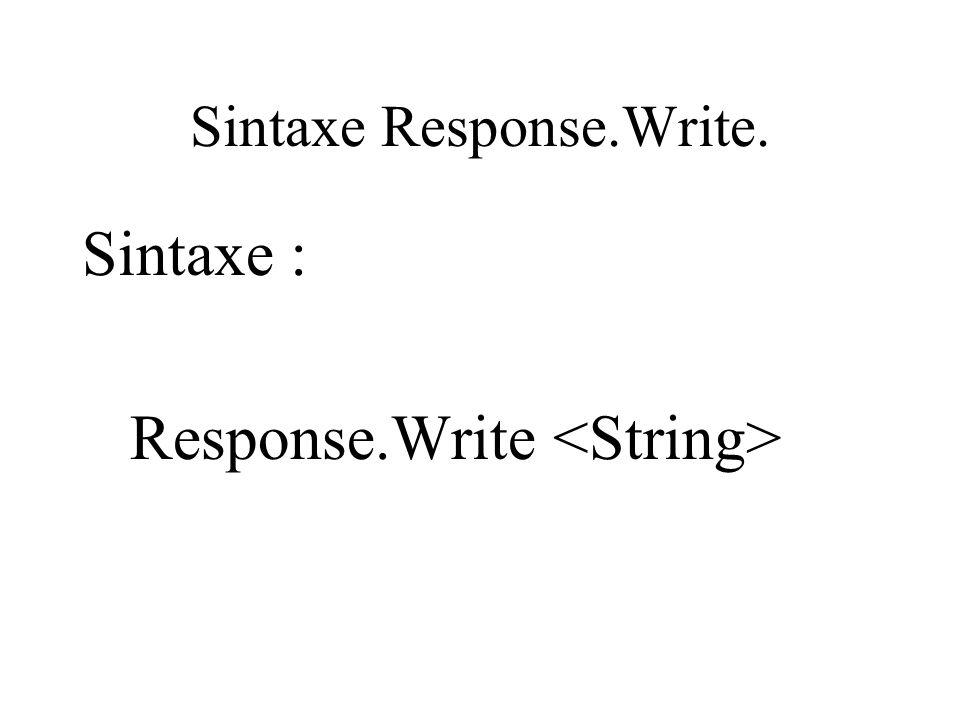 Sintaxe Response.Write. Sintaxe : Response.Write