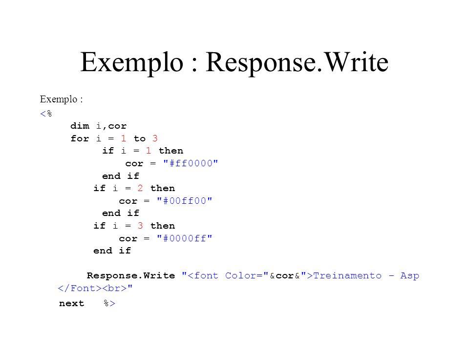 Exemplo : Response.Write Exemplo : Treinamento - Asp