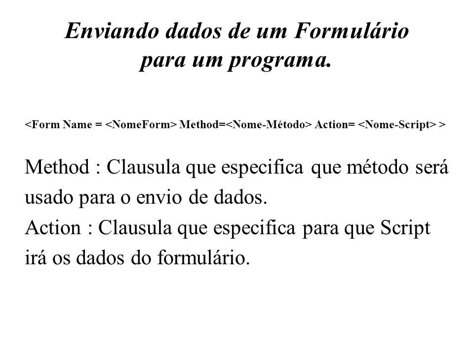 Enviando dados de um Formulário para um programa. Method= Action= > Method : Clausula que especifica que método será usado para o envio de dados. Acti