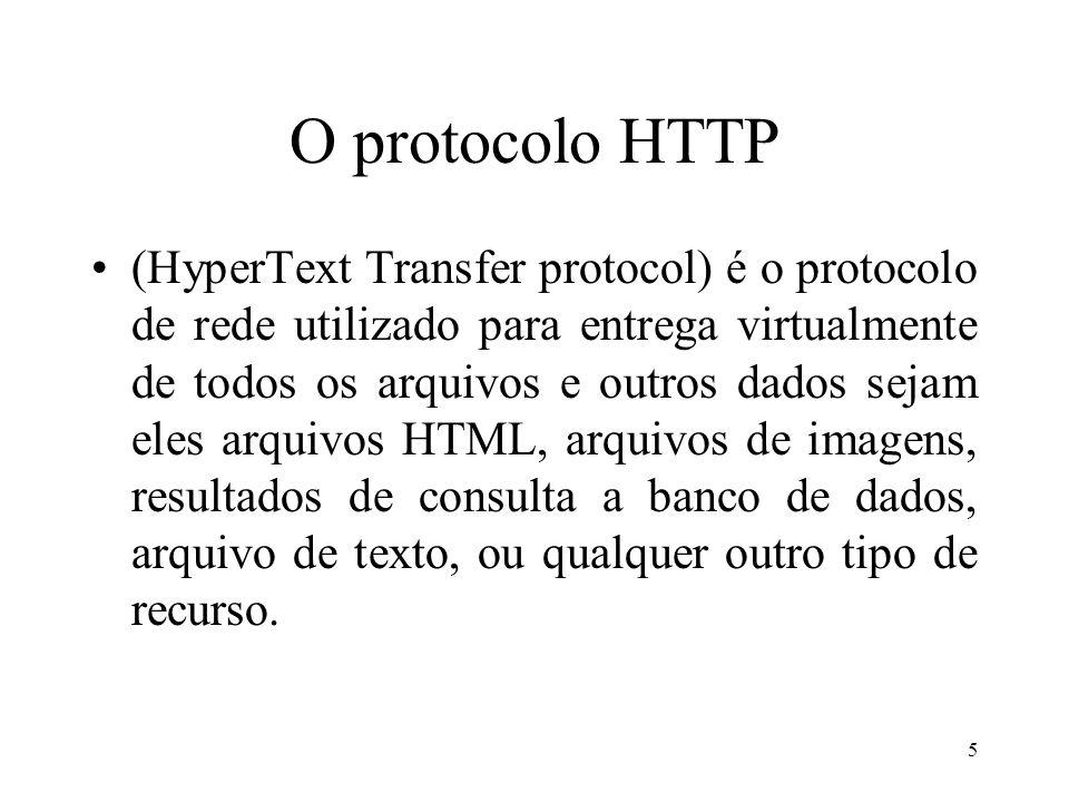 5 O protocolo HTTP (HyperText Transfer protocol) é o protocolo de rede utilizado para entrega virtualmente de todos os arquivos e outros dados sejam e