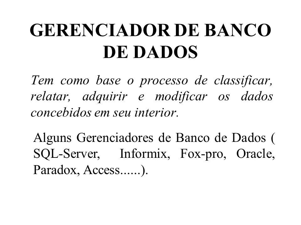 GERENCIADOR DE BANCO DE DADOS Tem como base o processo de classificar, relatar, adquirir e modificar os dados concebidos em seu interior. Alguns Geren
