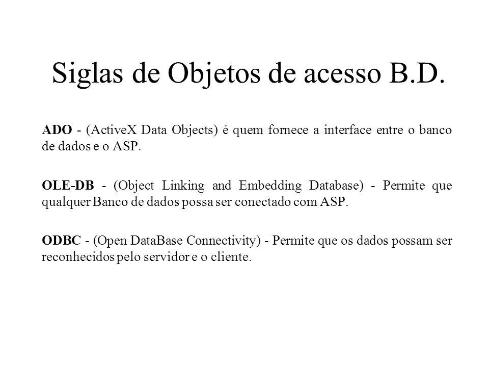 Siglas de Objetos de acesso B.D. ADO - (ActiveX Data Objects) é quem fornece a interface entre o banco de dados e o ASP. OLE-DB - (Object Linking and