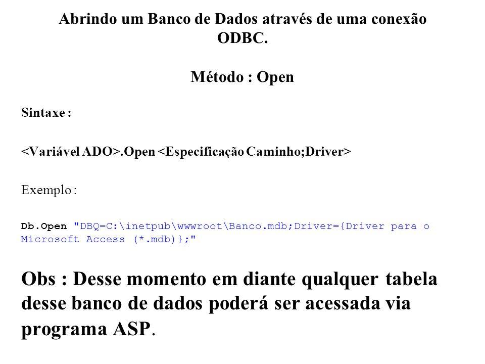 Abrindo um Banco de Dados através de uma conexão ODBC. Método : Open Sintaxe :.Open Exemplo : Db.Open