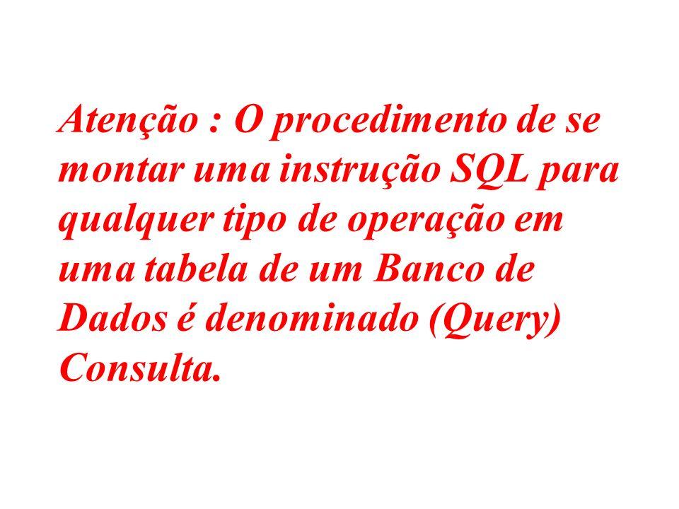 Atenção : O procedimento de se montar uma instrução SQL para qualquer tipo de operação em uma tabela de um Banco de Dados é denominado (Query) Consult