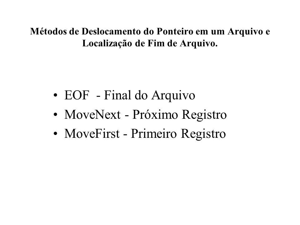 Métodos de Deslocamento do Ponteiro em um Arquivo e Localização de Fim de Arquivo. EOF - Final do Arquivo MoveNext - Próximo Registro MoveFirst - Prim