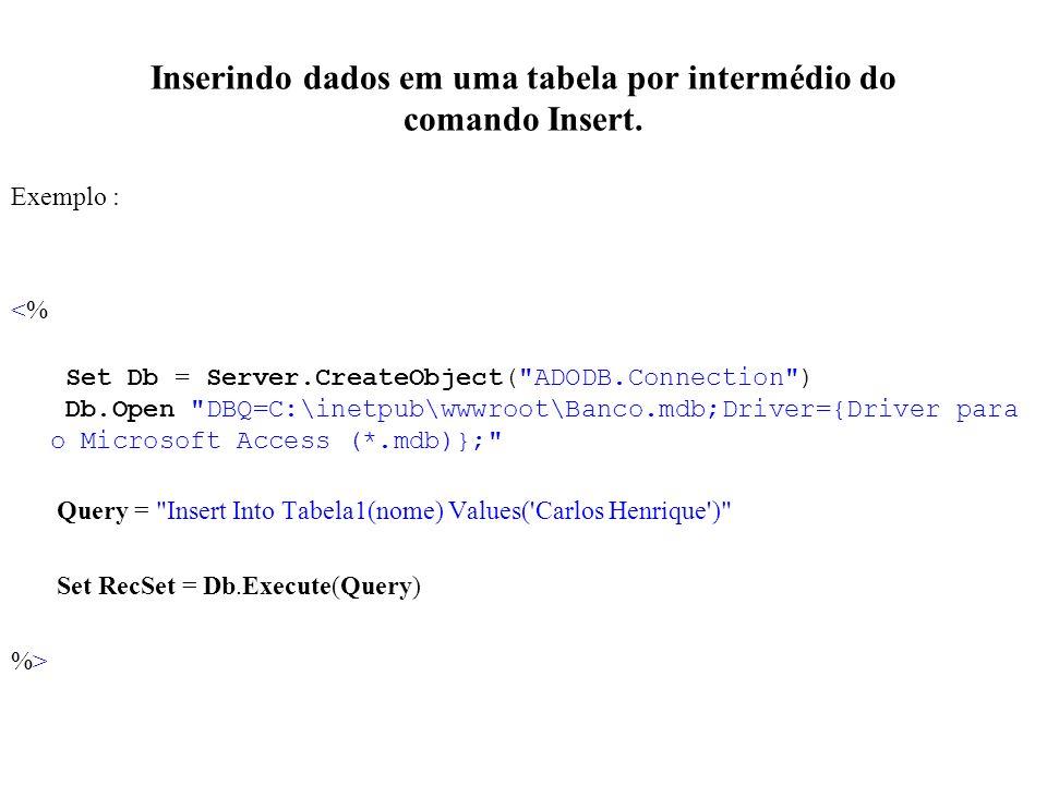Inserindo dados em uma tabela por intermédio do comando Insert. Exemplo : <% Set Db = Server.CreateObject(
