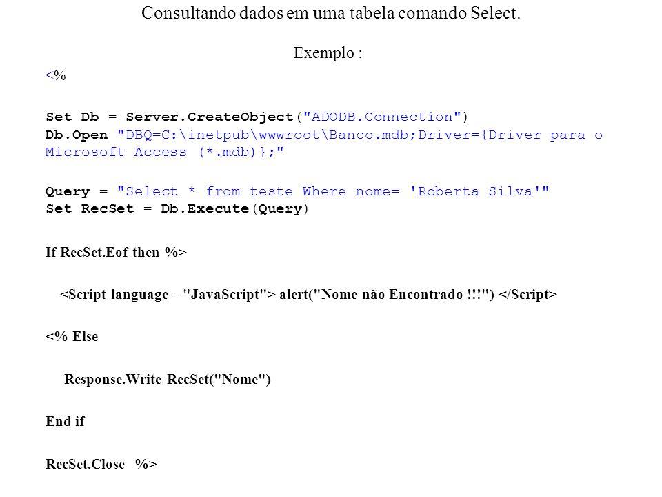 Consultando dados em uma tabela comando Select. Exemplo : <% Set Db = Server.CreateObject(