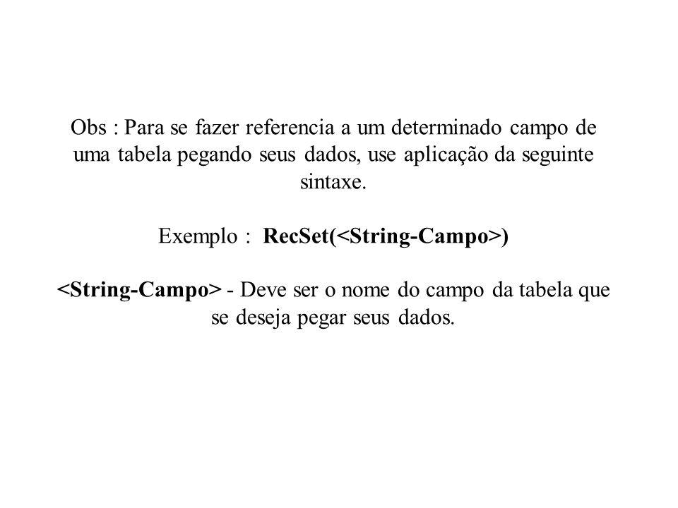 Obs : Para se fazer referencia a um determinado campo de uma tabela pegando seus dados, use aplicação da seguinte sintaxe. Exemplo : RecSet( ) - Deve
